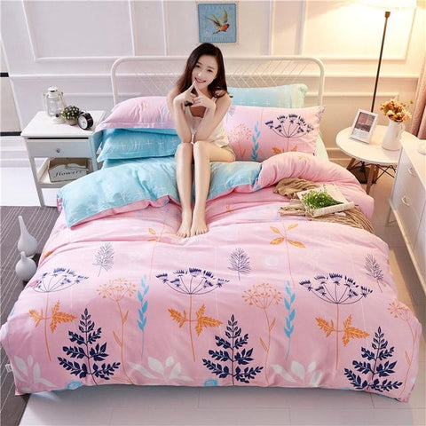 Comwarm 4PCS Bedclothes Bedsheet Pillowcase Warm Series Family Bedding Sets Floral Tree Plants Duvet Cover For Hotel 100% Cotton-Beddings-StyloMylo World