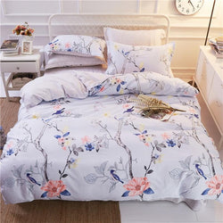 Comwarm Classic Elegant Bedclothes Bedlinen Pillowcase 100% Cotton Duvet Cover Flowers Birds Trees Bedding Set For Home Hotel-StyloMylo World