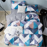 Cotton Bedding Set 4pcs With Duvet Cover Bed Sheet Pillowcase Children Stripe Bed Linen Set King Queen Full Twin Size