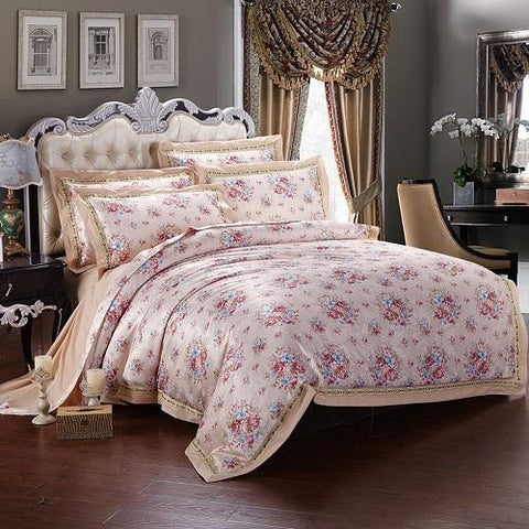 Cotton Jacquard Floral Print Bedding set  4Pcs Double King Queen size Bedsheet set Duvet cover Home Decorative Pillowcases