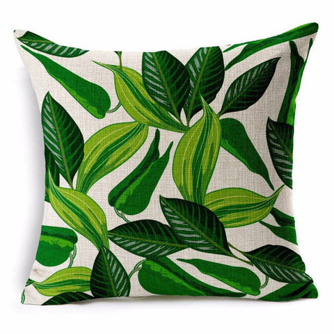 Decorative throw pillows case cover green leaf tropical plant cotton linen cushion cover for sofa home capa de almofadas 45x45-Throw Pillow Cover-StyloMylo World