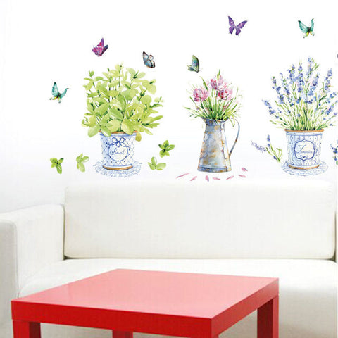 DIY home decor flower pots wall stickers art decals vase Home decoration decoration-Art-StyloMylo World