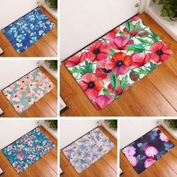 Doormat Suede Floral Flower Printed Floor Mat Home Decoration Outdoor Kitchen Mat Bathroom Carpet Bath Mat Toilet Rug 40x60cm-floor mats-StyloMylo World