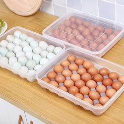 Dozzlor 24/34 Grid Single-Layer Egg Box Basket Organizer Plastic Egg Food Container Storage Box Home Kitchen Transparent Case