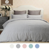 Duvet Cover Set Soft Solid color Hypoallergenic Washed Cotton Pillowcase Duvet Cover Bed Quilt Bedlinen Bedclothes-Beddings-StyloMylo World