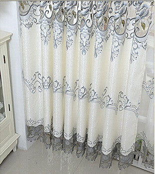 Embroidered tulle Window Curtains Bedroom Blackout Curtains-curtain-StyloMylo World