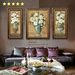 European classic style flowers oil painting wall living room home decoration 3 pcs customized oil canvas art painting-Art-StyloMylo World