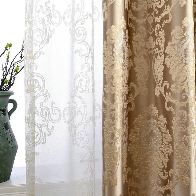European Damask Curtains For Living Room Luxury Jacquard