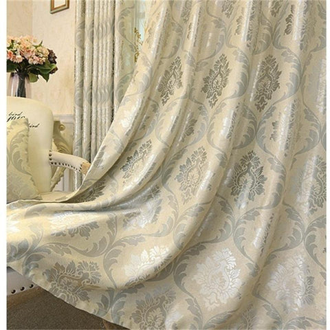European Luxury Jacquard Curtains For Living Room Beige Drapes