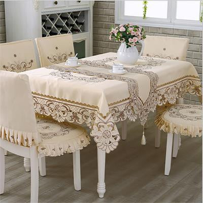 European Polyester Tablecloth Embroidered Tablecloth Square Floral-Table Cloths-StyloMylo World