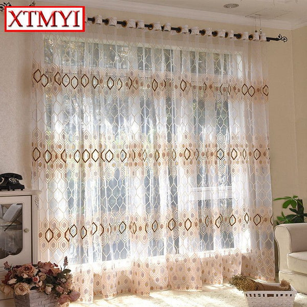 European style Brown tulle curtains for living room translucent bedroom kitchen modern blinds Custom Made-curtain-StyloMylo World