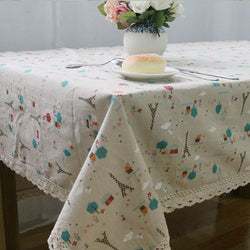 European Style Linen Table Cloth Country Flower Tower Printed Multifunctional Rectangle Table Cover with Lace Edge-Table Cloths-StyloMylo World