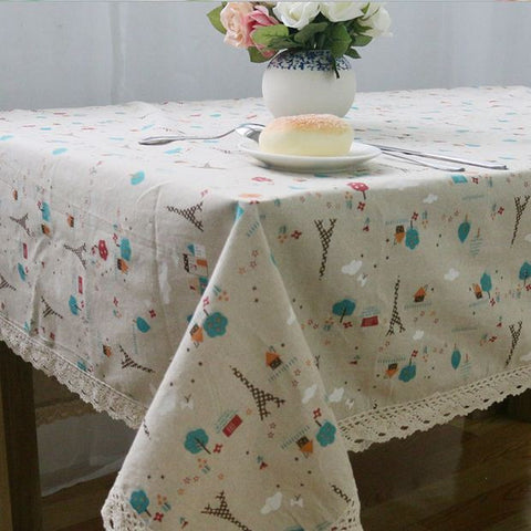 StyloMylo World & European Style Linen Table Cloth Country Flower Tower Printed Multifunctional Rectangle Table Cover with Lace Edge