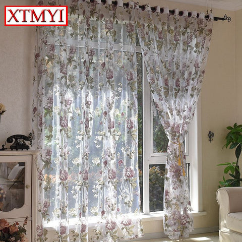 European Style Purple Floral Tulle Curtains For Living Room Bedroom Kitchen Modern Blinds Chinese Custom