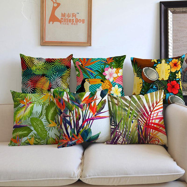 Fashion High Quality Africa Tropical Plant Banana Leaf bird Decorative Throw Pillow Case Cushion Cover Sofa Home chair car Decor-Throw Pillow Cover-StyloMylo World