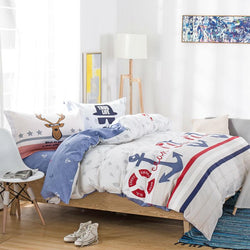 fashion preppy style anchors print bedding sets linens cotton Twin/Single/Double/Queen Size duvet cover+bedsheet+pillowcases-Beddings-StyloMylo World
