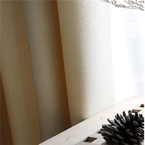 Faux Linen 70%-85% Shading Custom Made Insulating Modern Style Solid Color Blackout Curtain For Living Room Window