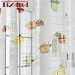 Finished Fruit Printing Curtain Tulle For Living Room Bedroom  Children's Room Window Screening  kitchen Sheer Curtain W-ZH026#4