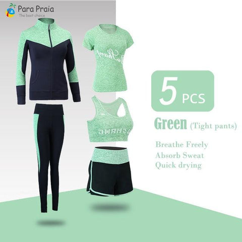 Five Piece Gym Woman Sportswear for Women Sports Bra Fitness Clothing Tracksuit for Women Workout 2019 New Yoga Set Jogging Wear