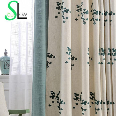 Floral Embroidered Curtains For Living Room Korean Style Blackout Window Curtain Rideaux Pour Le Salon Gardinen Cortinas CL-63-curtain-StyloMylo World