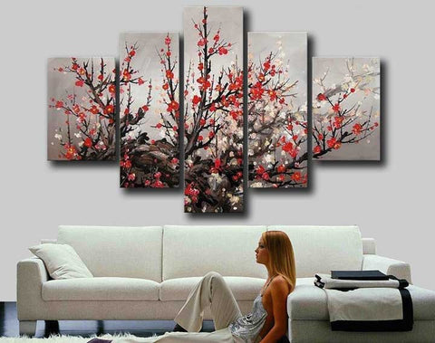 Framed hand painted modern large red plum blossom cherry blossom flower oil painting on canvas wall art home decoration 5 panels-Art-StyloMylo World