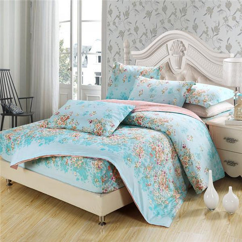 Home Textile Home & Garden New Fresh Floral Twin Queen King Size Bedding Sets Good Quality Bedlinens Flowers Duvet Cover Flat Sheet Pillow Cases Bedclothes