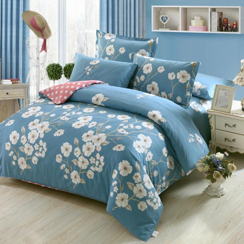 Fresh Flowers White Blue Twin Full Queen King Size Bedding Sets