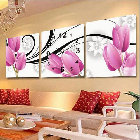 Full Diamond Embroidery Wall Clock 5D DIY Diamond Painting Cross Stitch Tulips Flower Mosaic Rhinestones Picture-Clocks-StyloMylo World