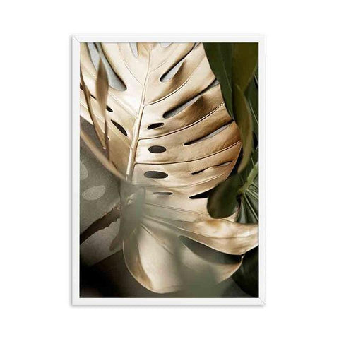 Golden Monstera Leaves Art Nature Wall Art Plant Canvas Painting Abstract Pictures for Living Room Home Decoration No Frame