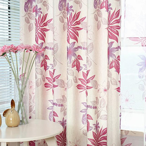 Gray Purple Leaves Printed Modern Blackout Curtains For Living Room Bedroom Cotton Linen Sheer Window