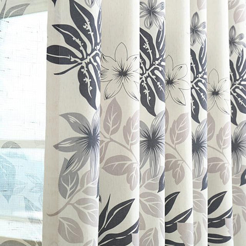 Gray/Purple Leaves Printed Modern Blackout Curtains For Living Room Bedroom Cotton Linen Sheer Window Voile Custom Made Drapes-curtain-StyloMylo World