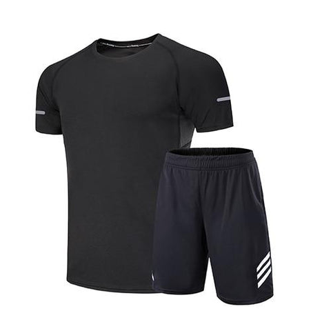 Gym clothing men running sets sport suit men shorts+tshirt two-piece set sports joggers training tracksuits running sportswear