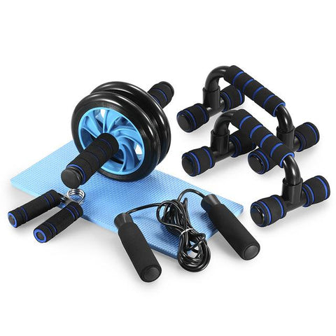 Gym Fitness Equipment Muscle Trainer Wheel Roller Kit Abdominal Roller Push Up Bar Jump Rope Workout Crossfit Home Sport