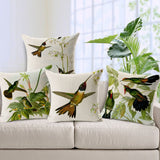 Hand painted Hummingbird Square Cushion Cover-Throw Pillow Cover-StyloMylo World