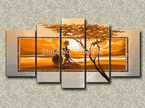Hand painted modern sexy nude African women sunset landscape oil painting on canvas frame wall art home decor-Art-StyloMylo World