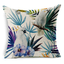 Hand painted Tropical Flower Leaves Tree Linen Cushion Cover Flowers Floral Pillow Covers For Sofa-Throw Pillow Cover-StyloMylo World