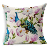 Hand painted Tropical Flower Leaves Tree Linen Cushion Cover-Throw Pillow Cover-StyloMylo World