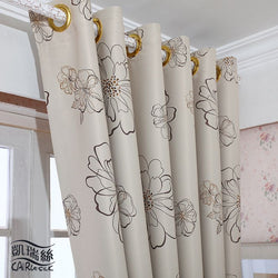 High Grade Floral Printing Blackout Curtain Sheer Tulle Curtain For Bedroom Free Shipping-curtain-StyloMylo World