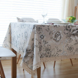 High Quality Peony Cotton Table Cloth China Style Table Covers with Lace Edge Party Kitchen Tablecloth-Table Cloths-StyloMylo World