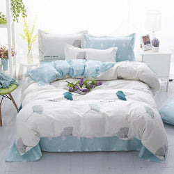 Home Bedding set grey blue duvet cover AB side bed linens flat sheet pillowcase bedclothes adult Grid home bedding bed cover set-Beddings-StyloMylo World