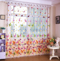 home Textile butterfly Chinese luxury 3D Window Curtainsprinted  fabric Tulle Sheer Curtains para bedroom living room 1pc