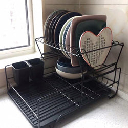 Kitchen put dish rack double-layer plate cup finishing drain rack basket hanging tableware storage rack WF810112