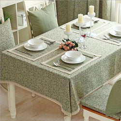 Korean . Cotton table cloth for rectangular table cloth with lace edge fashion home decoration-StyloMylo World