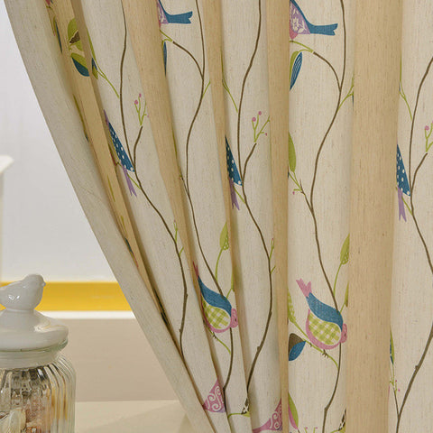 Korean garden cotton and line birds printed curtains new custom semi shade flower cloth curtain fro bedroom and living room-curtain-StyloMylo World