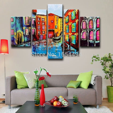 Large abstract Venice street view landscape boat oil painting framed on canvas wall art home decoration picture-Art-StyloMylo World