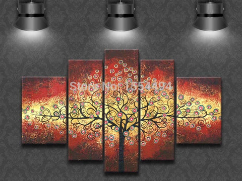 Large modern abstract money tree flower oil painting framed on canvas home decoration wall art picture 5 panels-Art-StyloMylo World