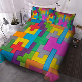 LATEST ! BlessLiving Toy Print Bedding Set Dot Building Blocks Comforter Cover Kids Boy Bed Cover Colorful Bricks Game Bedlinen Wholesale