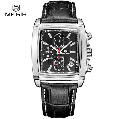 LATEST ! Rare Luxury Brand MEGIR Watch Men Chronograph Function Date Rectangle Watch Genuine Leather Military Watches Relogio Masculino-watches-StyloMylo World