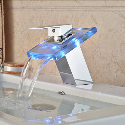 ... LED Light Bathroom Waterfall Led Faucet Glass Waterfall Wash Basin Mixer Tap Deck Mounted Single Handle ... & LED Light Bathroom Waterfall Led Faucet Glass Waterfall Wash Basin ...