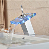LED Light Bathroom Waterfall Led Faucet Glass Waterfall Wash Basin Mixer Tap Deck Mounted Single Handle-Sanitary-StyloMylo World